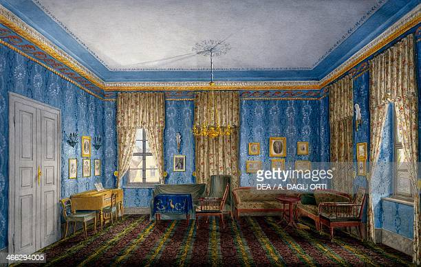 Dayroom with blue wallpaper and garlands 19th century watercolour