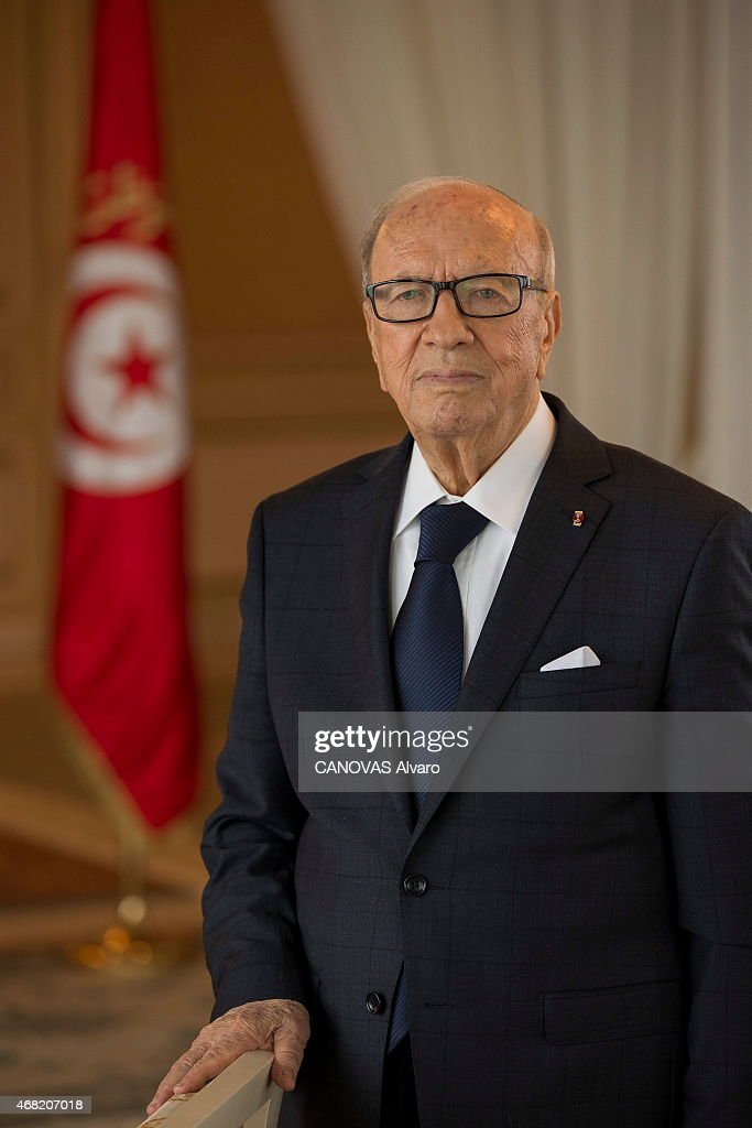 3 days after the terrorist attack of the museum of Bardo, Beji Caid Essebsi the president of the Tunisian Republic in the Presidential palace in Carthage on March 21, 2015.