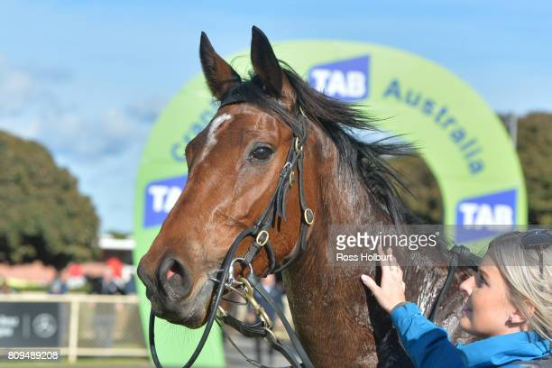 Days Go By after winning the Highview Accounting Financial Services Maiden Plate at Cranbourne Racecourse on July 06 2017 in Cranbourne Australia