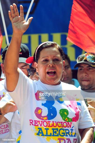 Daysi Torres current mayor of Managua and candidate to the reelection for the Sandinista National Liberation Front during an activity with supporters...