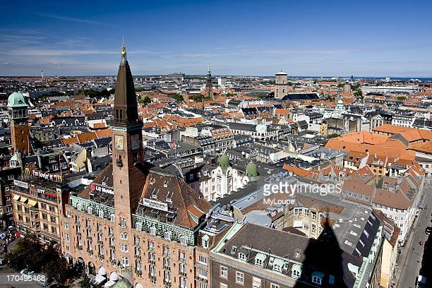 Daytime overview of the city of Copenhagen Denmark