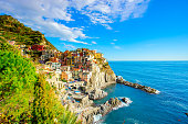 Vibrant blue sky at Manarola one of the five villages in Cinque Terre in Italy
