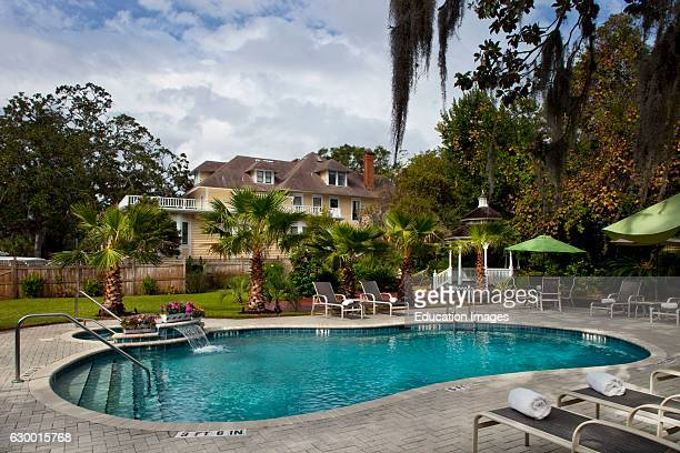 Daytime shot of backyard pool at an Amelia Island Inn Hoyt House Amelia Island FL