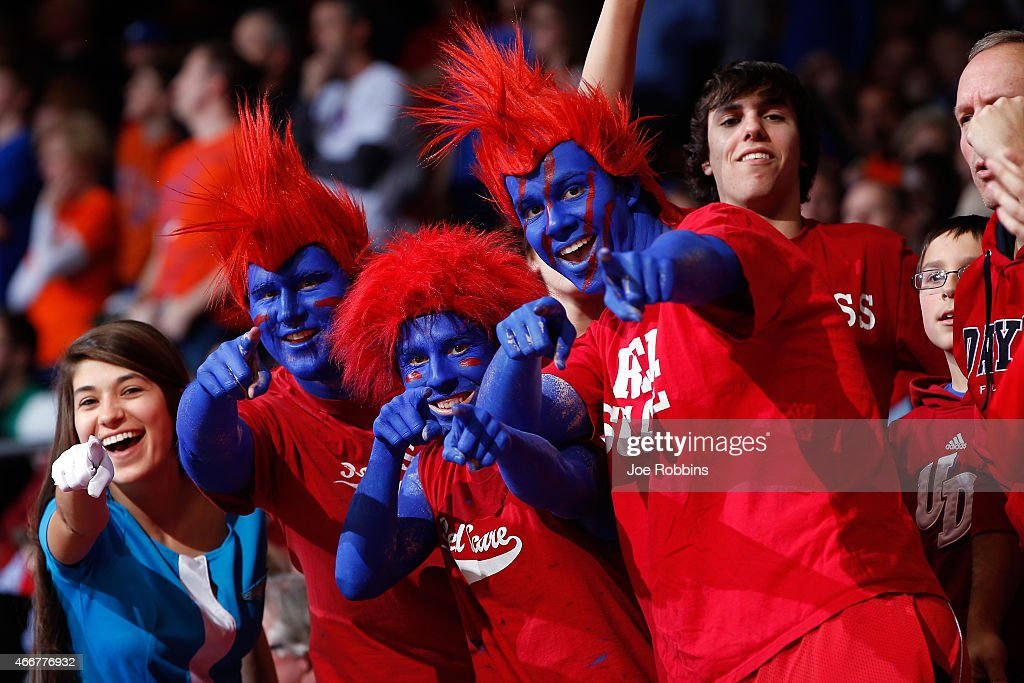 Dayton Flyers fans look on against the Boise State Broncos during the first round of the 2015 NCAA Men's Basketball Tournament at UD Arena on March...