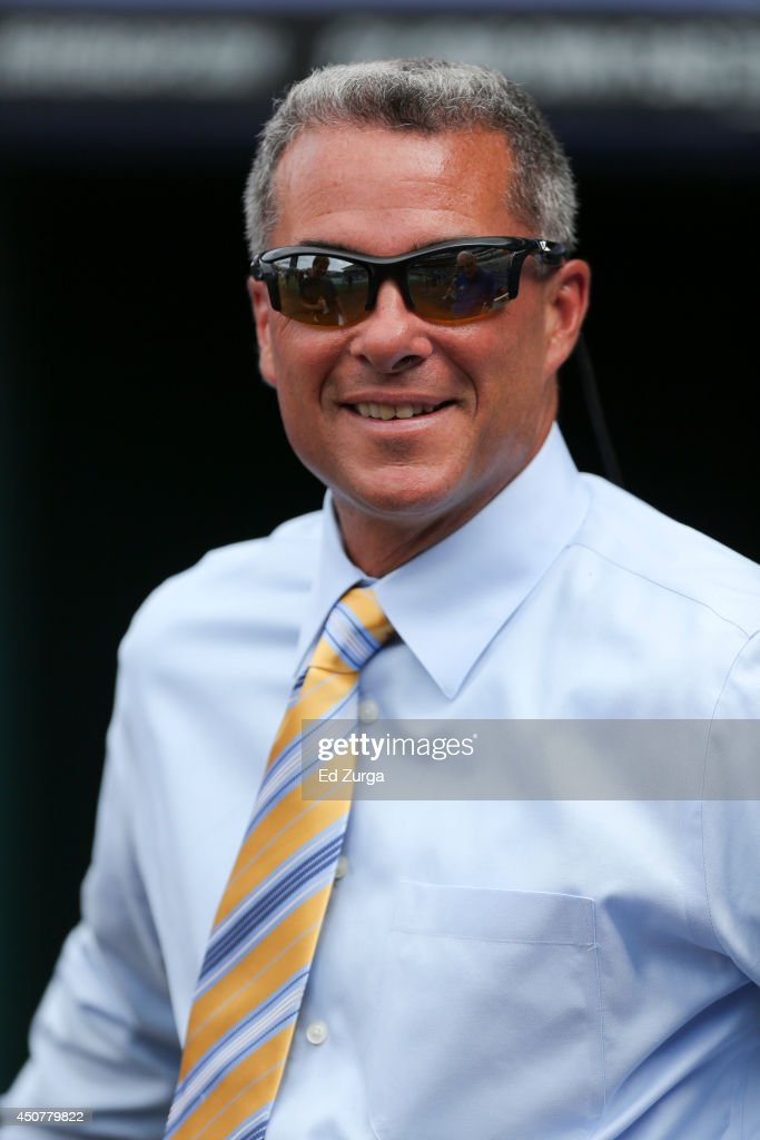 <a gi-track='captionPersonalityLinkClicked' href=/galleries/search?phrase=Dayton+Moore&family=editorial&specificpeople=4308708 ng-click='$event.stopPropagation()'>Dayton Moore</a> general manager of the Kansas City Royals talks with media members prior to a game against the St. Louis Cardinals at Kauffman Stadium on June 4, 2014 in Kansas City, Missouri.