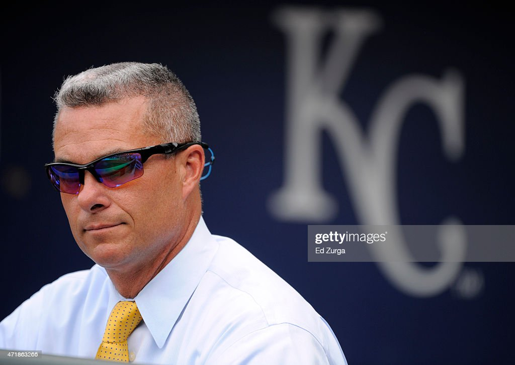 <a gi-track='captionPersonalityLinkClicked' href=/galleries/search?phrase=Dayton+Moore&family=editorial&specificpeople=4308708 ng-click='$event.stopPropagation()'>Dayton Moore</a>, general manager of the Kansas City Royals, watches as the Royals take batting practice prior to a game against the Detroit Tigers on May 1, 2015 at Kauffman Stadium in Kansas City, Missouri.