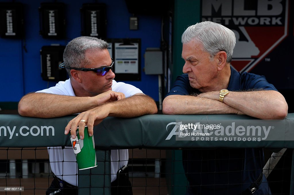 <a gi-track='captionPersonalityLinkClicked' href=/galleries/search?phrase=Dayton+Moore&family=editorial&specificpeople=4308708 ng-click='$event.stopPropagation()'>Dayton Moore</a>, left, general manager of the Kansas City Royals talks with owner and Chief Executive Officer David Glass during batting practice at Kauffman Stadium on September 5, 2015 in Kansas City, Missouri.