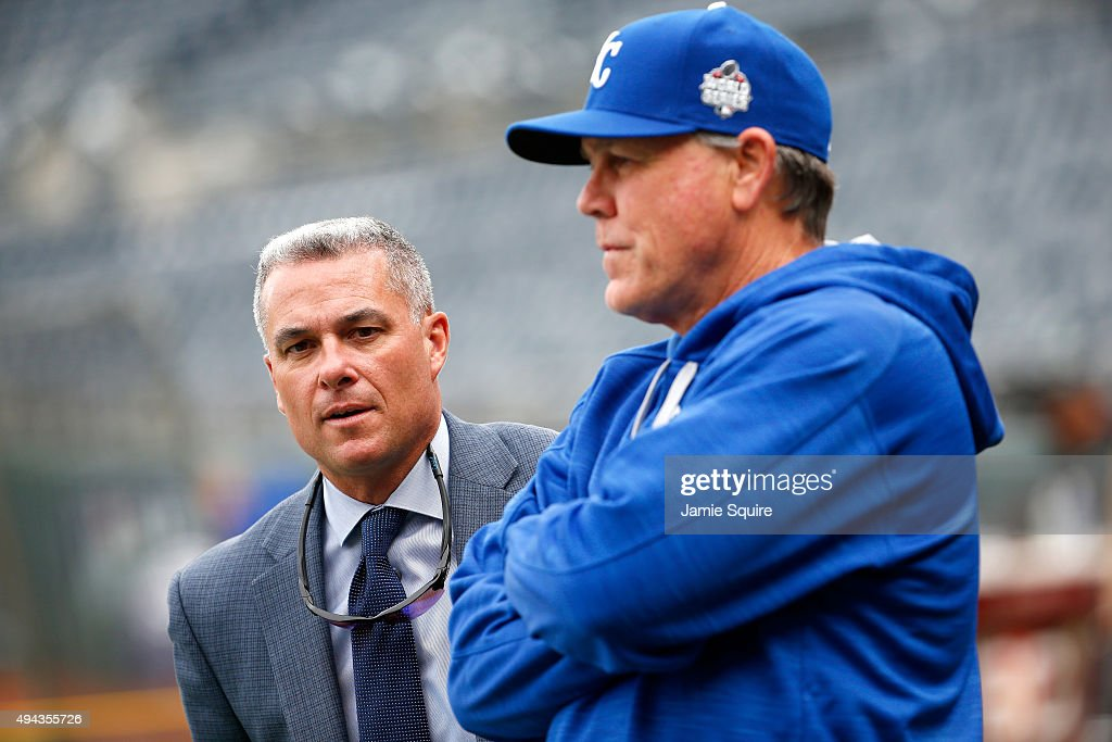 <a gi-track='captionPersonalityLinkClicked' href=/galleries/search?phrase=Dayton+Moore&family=editorial&specificpeople=4308708 ng-click='$event.stopPropagation()'>Dayton Moore</a>, Senior Vice President Baseball Operations and General Manager of the Kansas City Royals talks with manager <a gi-track='captionPersonalityLinkClicked' href=/galleries/search?phrase=Ned+Yost&family=editorial&specificpeople=228571 ng-click='$event.stopPropagation()'>Ned Yost</a> #3 during a workout the day before Game 1 of the 2015 World Series between the Royals and Mets at Kauffman Stadium on October 26, 2015 in Kansas City, Missouri.