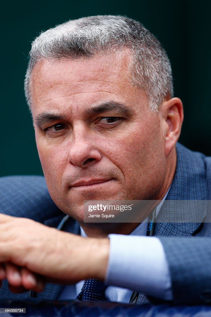 <a gi-track='captionPersonalityLinkClicked' href=/galleries/search?phrase=Dayton+Moore&family=editorial&specificpeople=4308708 ng-click='$event.stopPropagation()'>Dayton Moore</a>, Senior Vice President Baseball Operations and General Manager of the Kansas City Royals looks on during a workout the day before Game 1 of the 2015 World Series between the Royals and Mets at Kauffman Stadium on October 26, 2015 in Kansas City, Missouri.