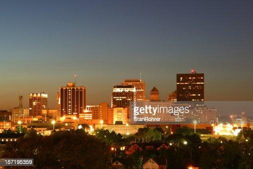 Dayton Ohio Cityscape At Dusk