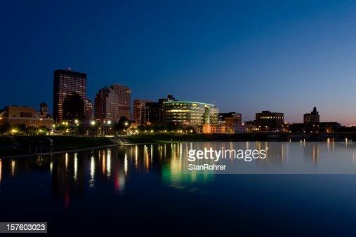 Dayton Ohio Cityscape at Late Dusk