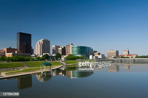 Dayton Ohio morning city scape and its reflection