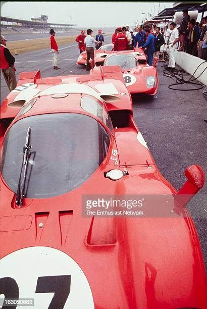 Daytona 24 Hour Race Ferrari drivers Jacky Ickx and Peter Schetty Ferrari 512S sits in pit lane