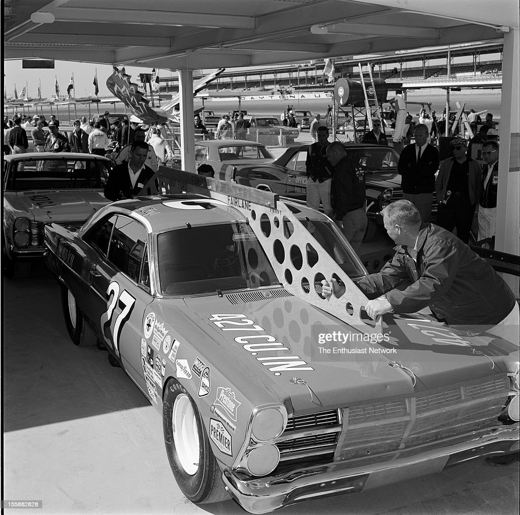 Daytona 500 NASCAR A.J. Foyt's Ford Fairlane getting inspected before the race.