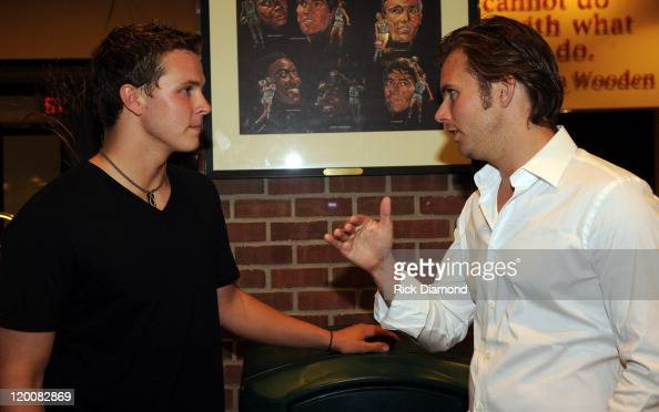 WINNER Daytona 500 Trevor Bayne and WINNER Indianapolis 500 Dan Wheldon meet for the first time backstage at the Taylor Swift concert at Conseco...