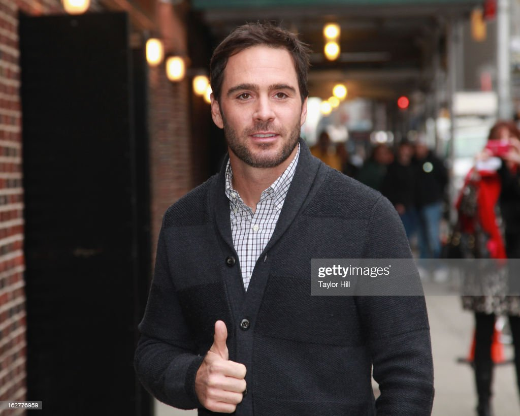 Daytona 500 winner Jimmie Johnson arrives at 'Late Show with David Letterman' at Ed Sullivan Theater on February 26, 2013 in New York City.