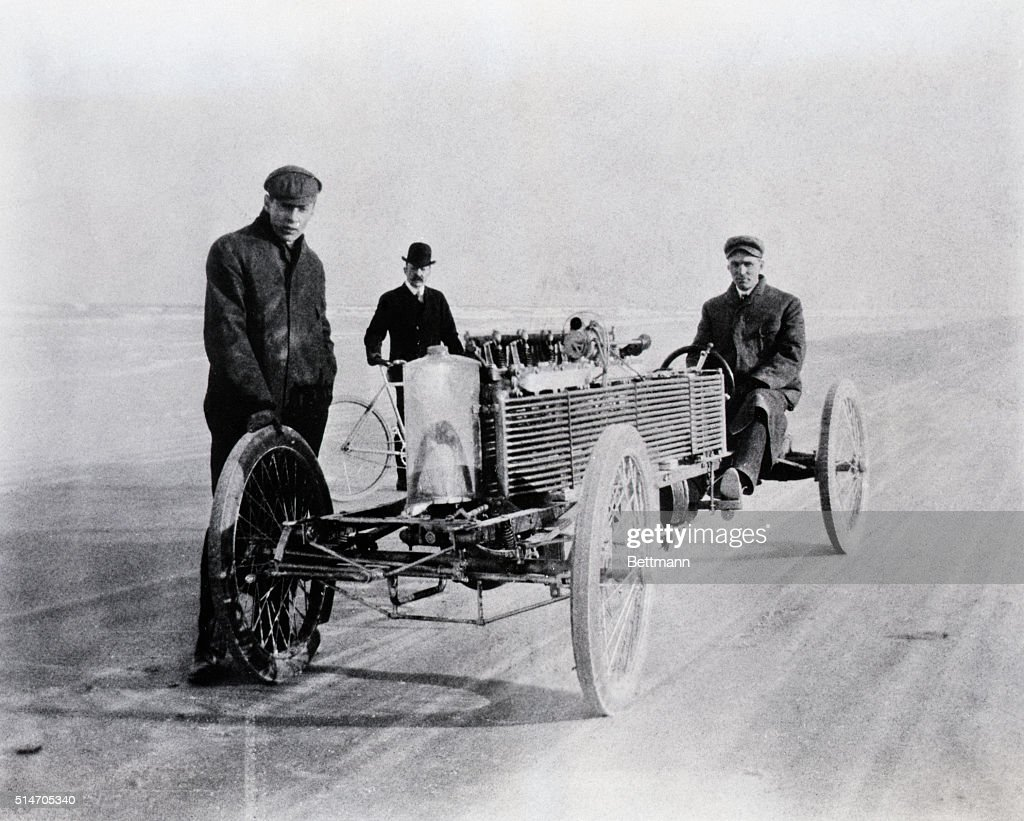 <a gi-track='captionPersonalityLinkClicked' href=/galleries/search?phrase=Henry+Ford+-+Founder+of+Ford+Motor+Company&family=editorial&specificpeople=94471 ng-click='$event.stopPropagation()'>Henry Ford</a> and August Degener, an early colleague, with a special six-cylinder Ford racer at Daytona Beach, FL, in 1905. This photograph appears in the permanent exhibit '<a gi-track='captionPersonalityLinkClicked' href=/galleries/search?phrase=Henry+Ford+-+Founder+of+Ford+Motor+Company&family=editorial&specificpeople=94471 ng-click='$event.stopPropagation()'>Henry Ford</a>- A Personal History,' which will be dedicated in the <a gi-track='captionPersonalityLinkClicked' href=/galleries/search?phrase=Henry+Ford+-+Founder+of+Ford+Motor+Company&family=editorial&specificpeople=94471 ng-click='$event.stopPropagation()'>Henry Ford</a> Museum on May 8th, 1953, by the Museum's trustees, <a gi-track='captionPersonalityLinkClicked' href=/galleries/search?phrase=Henry+Ford+-+Founder+of+Ford+Motor+Company&family=editorial&specificpeople=94471 ng-click='$event.stopPropagation()'>Henry Ford</a> II, Benson Ford, and William C. Ford.