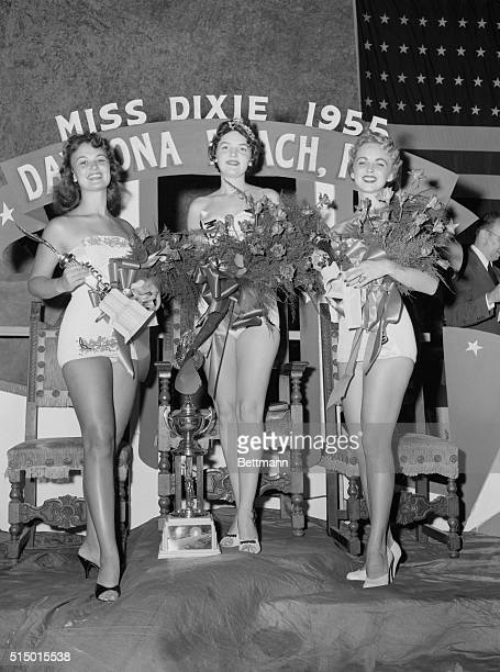 Daytona Beach Florida Miss Dixie of 1955 Barbara Nan Hicks of Birmingham and Gadsden Ala won out over 23 other southern beauty queens to capture the...