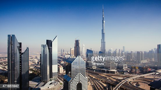 Dbuai sky line with traffic junction and Burj Khalifa