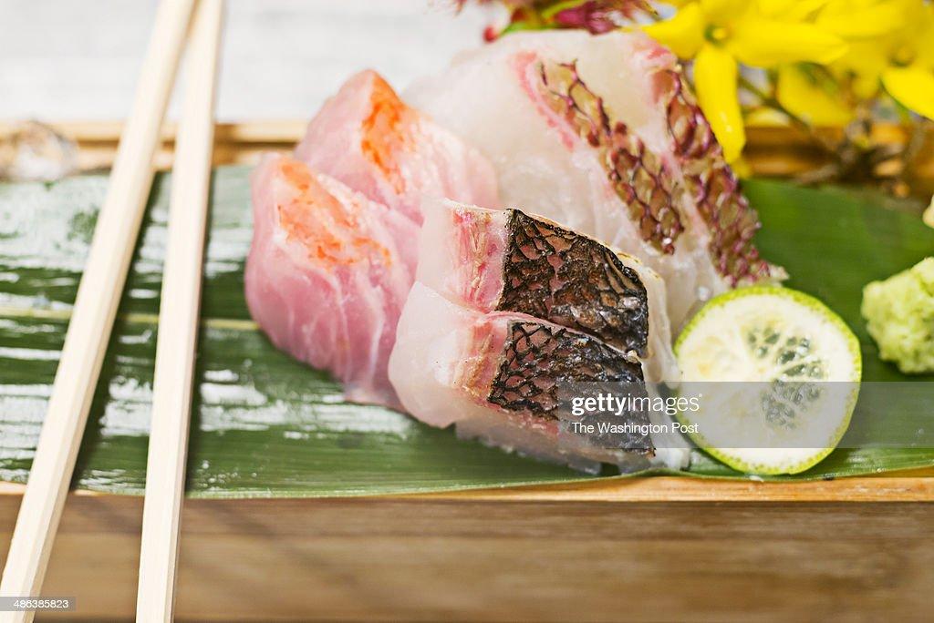 The sashimi of medai, kurodai, and kuromitsu on the tasting menu at Zentan Restaurant in Washington, DC.