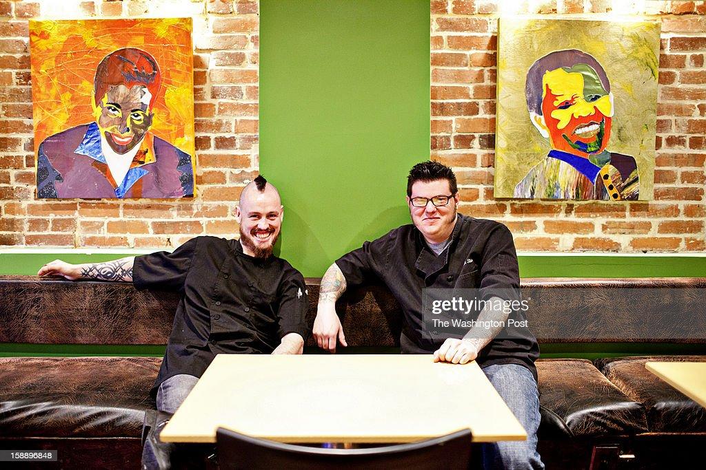 Chefs Adam Litchfield and Adam Stein (left to right) at Cause Philanthropub in Washington, DC.