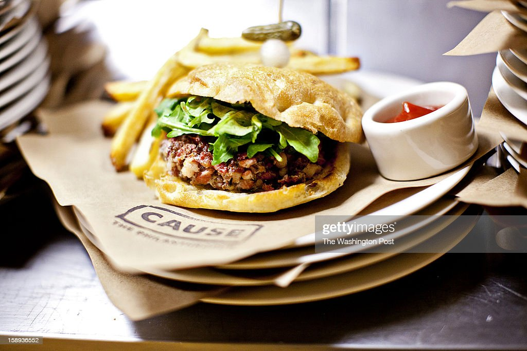 Lamb Burger with Bacon at Cause Philanthropub in Washington, DC.