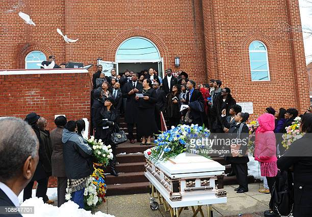 Doves are released following the funeral for Lisa Robinson mother of University of Kansas forward Thomas Robinson at the Antioch Baptist Church on...