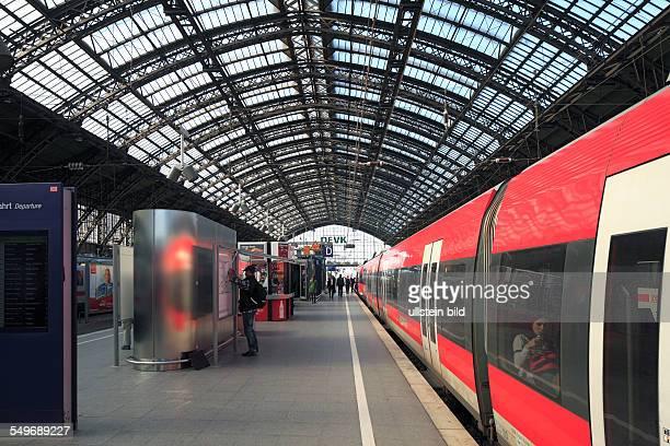 DCologne North RhineWestphalia NRW Cologne Central Station Deutsche Bahn German Railways station concourse train shed rail train people railway...