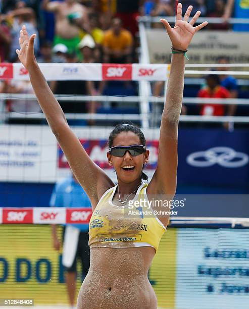dda Lisboa of Brazil celebrates their victory after winning the golden medal match against Netherlands at Pajucara beach during day six of the FIVB...