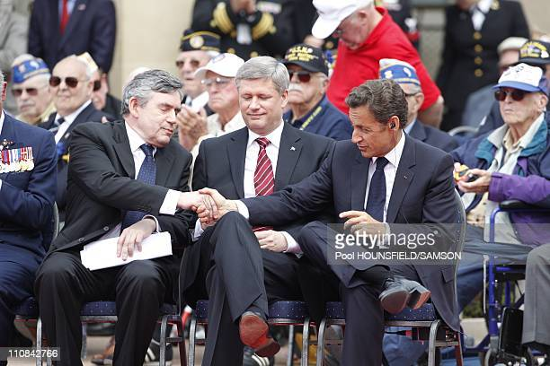 Day Commemorations At The Us Military Cemetery Of CollevilleSurMer In France On June 06 2009 British Prime Minister Gordon Brown Stephen Harper the...