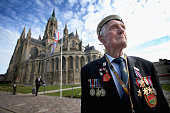 Day Veteran 88 year old Victor Walker formerly of HMS Versatile arrives at Bayeux Cathedral for a Service of Remembrance during DDay 70...