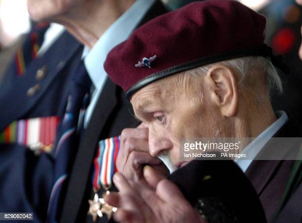 DDay veteran former paratrooper Leslie Allsopp wipes away a tear during an emotional ceremony in Caen Friday 4th June to award Normandy 60th...