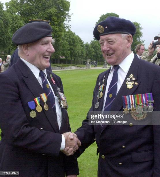 DDay veterans Royal Engineer Jack Summers from North Hykeham Lincs and right Durham Light Infantryman George Richardson from Calverton Notts...