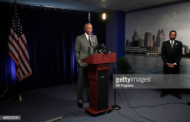 DDetroit Mayor Dave Bing holds a press conference to discuss federal bankruptcy Judge Steven Rhodes' ruling on Detroit's Chapter 9 bankruptcy...