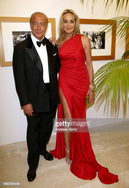 De Grisogono Founder and President Fawaz Gruosi and actress Sharon Stone attend the 'De Grisogono' Party during The 66th Annual Cannes Film Festival...