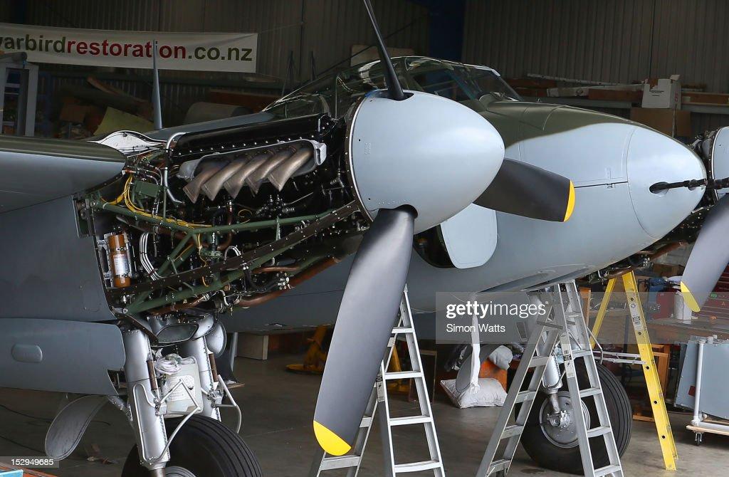 de Havilland Mosquito KA 114 sits in the Warbirds Restorations hanger at Ardmore Aerodrome on Friday September 28, 2012 in Ardmore, New Zealand.