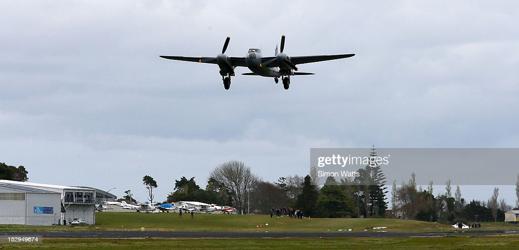 de Havilland Mosquito KA 114 takes flight for the first time since 1945 following its restoration. The restoration was completed at Warbird Restorations at Ardmore Aerodrome. Thursday September 27, 2012 in Ardmore, New Zealand.