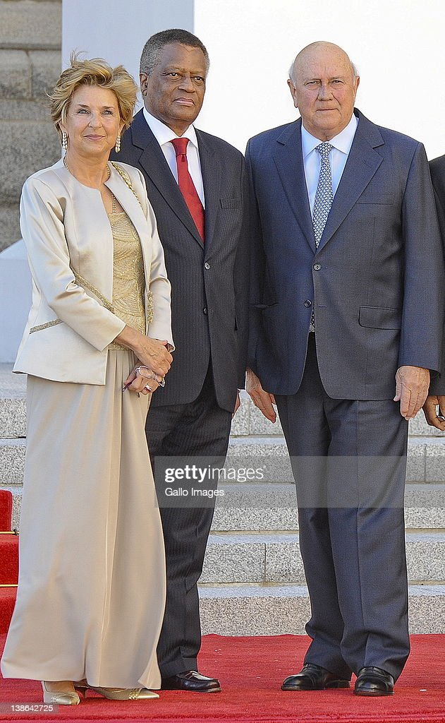 FW de Klerk and his wife Elita Georgiades with Max Sisulu at the State of the Nation Address at the opening of Parliament in Cape Town, South Africa on 9 February 2012. Parliament was opened in the annual ceremony where President Jacob Zuma delivered his state of the nation address.