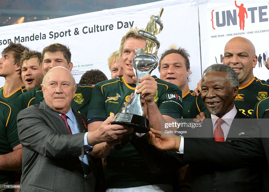 F. W. de Klerk, Jean de Villiers of the Springboks and Thabo Mbeki during the Castle Rugby Championship match between South Africa and Argentina at FNB Stadium on August 17, 2013 in Soweto, South Africa.