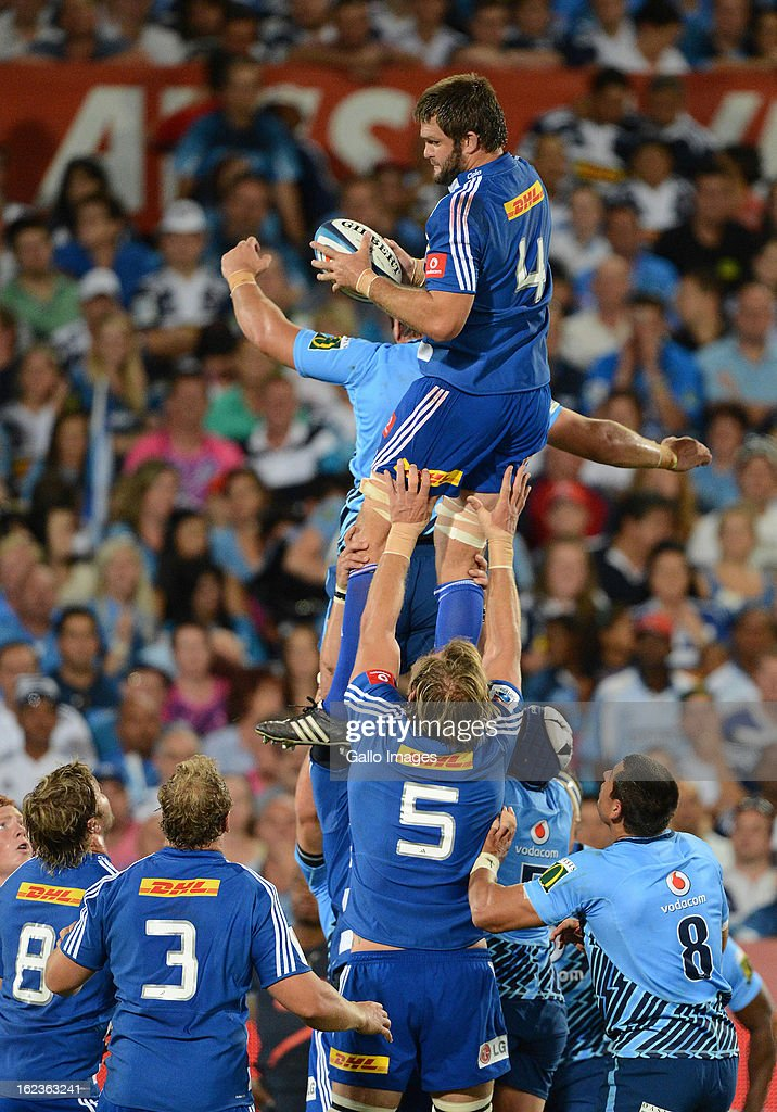De Kock Steenkamp of the Stormers wins the line-out during the Super Rugby match between Vodacom Bulls and DHL Stormers from Loftus Versfeld Stadium on February 22, 2013 in Pretoria, South Africa.
