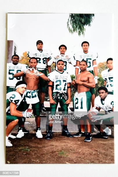 De La Salle's Terrance Kelly wearing No 28 murdered in 2004 standing by his good friend TJ Ward Ward's cousin Maurice JonesDrew a future NFL star is...