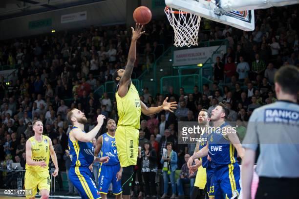De Mon Brooks of medi bayreuth in action during the easyCredit BBL match between medi bayreuth and EWE Baskets Oldenburg at Oberfrankenhalle on May 5...