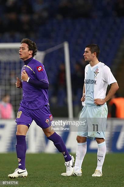 De Sousa Carneiro Keirrison of ACF Fiorentina celebrates the goal as Alexander Kolarov of SS Lazio shows his dejection during the Serie A match...