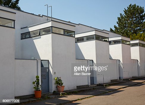 de stijl inspired terraced housing in stuttgart stock photo getty images. Black Bedroom Furniture Sets. Home Design Ideas