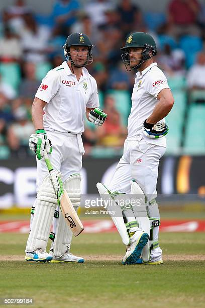 AB de Villiers and Faf du Plessis of South Africa chat during day four of the 1st Test between South Africa and England at Sahara Stadium Kingsmead...