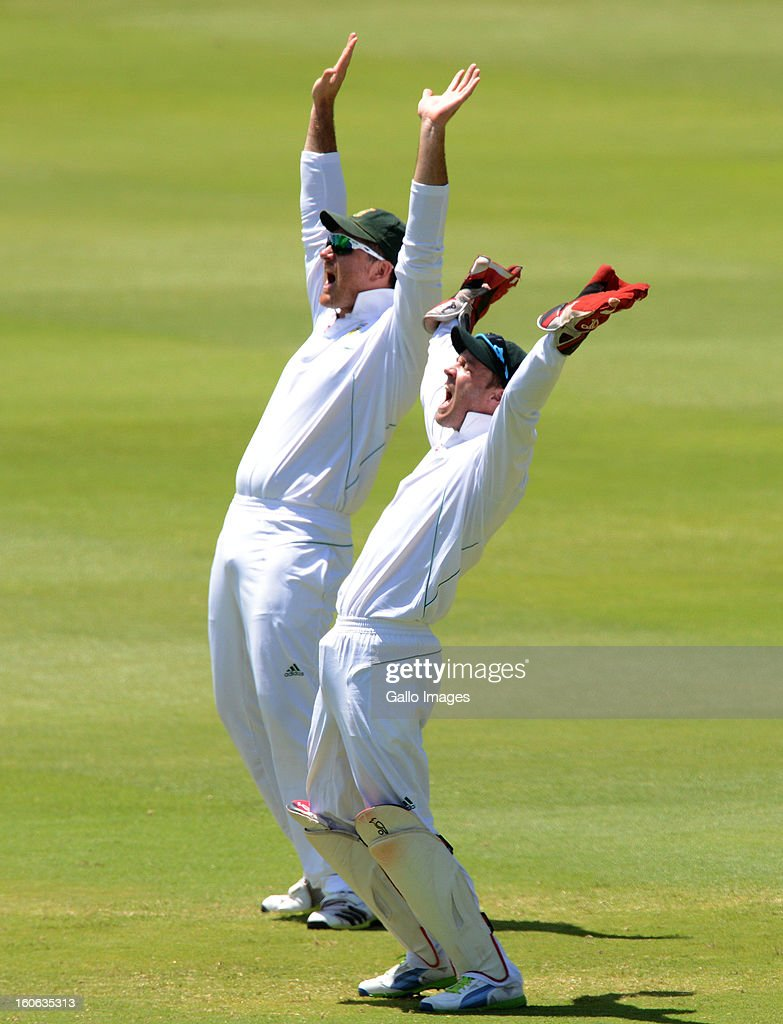 AB de Villiers and Graeme Smith of South Africa appeals during day 4 of the 1st Test match between South Africa and Pakistan at Bidvest Wanderers Stadium on February 4, 2013 in Johannesburg, South Africa.