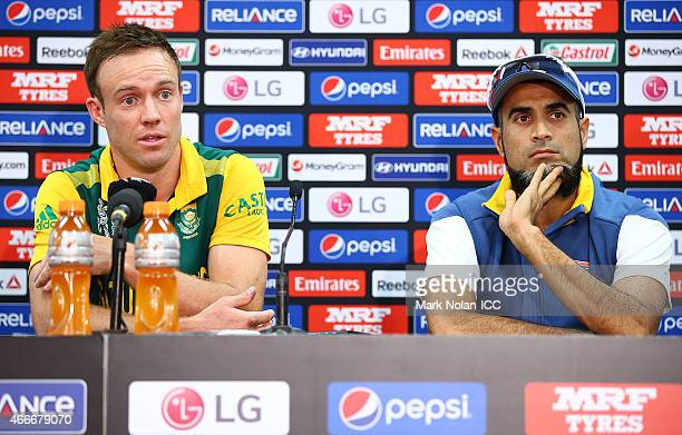 De Villiers and Muhammad Imran Tahir of South Africa talk to the media after the 2015 ICC Cricket World Cup match between South Africa and Sri Lanka...