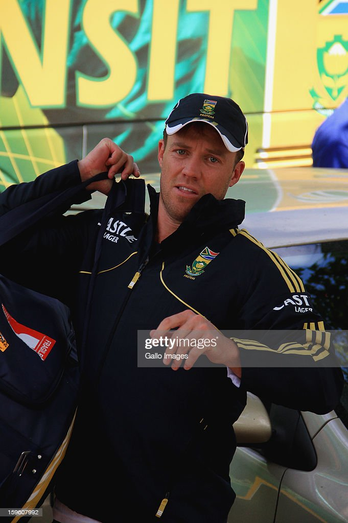 AB de Villiers arrives at the South African national cricket team nets session and press conference at Claremont Cricket Club on January 17, 2013 in Cape Town, South Africa.
