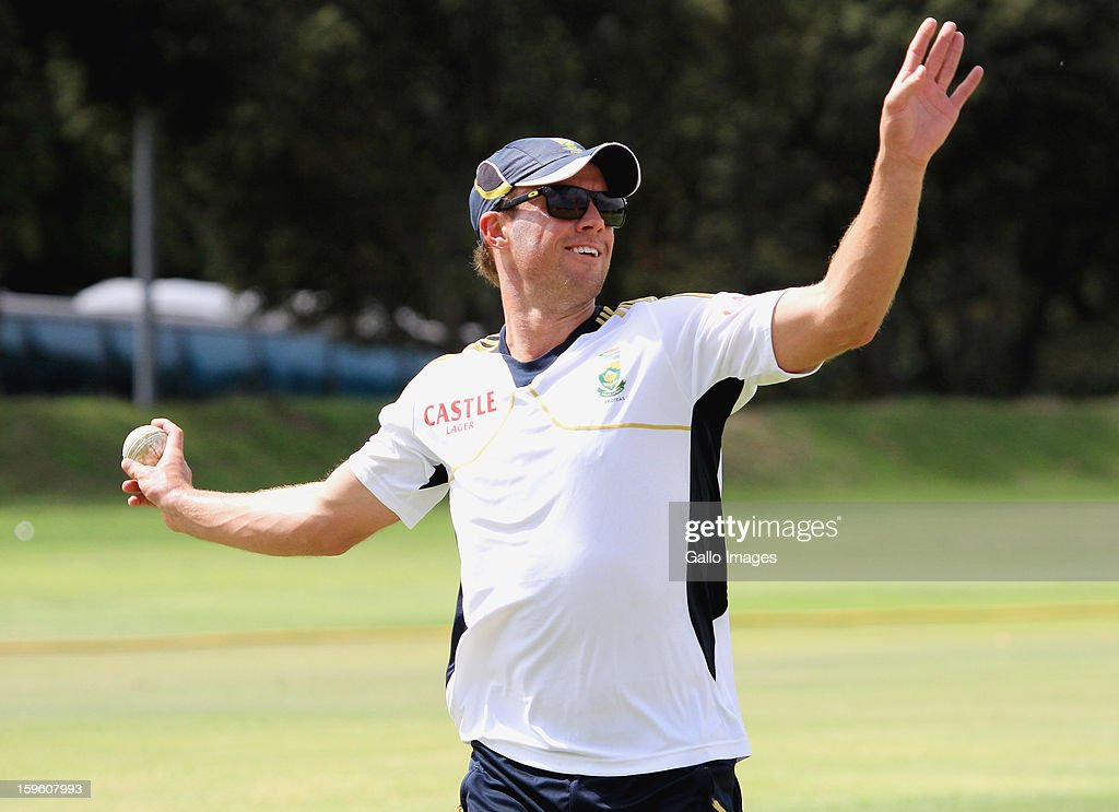 AB de Villiers atends the South African national cricket team nets session and press conference at Claremont Cricket Club on January 17, 2013 in Cape Town, South Africa.