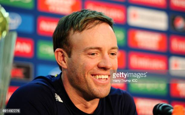 De Villiers Captain of South Africa looks on during the ICC Champions Trophy South Africa Press Conference at The Oval on June 2 2017 in London...